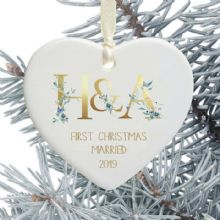 First Christmas Married Heart Christmas Tree Decoration - Floral Initials Design
